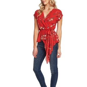VINCE CAMUTO Country Bouquet Wrap Peplum Blouse